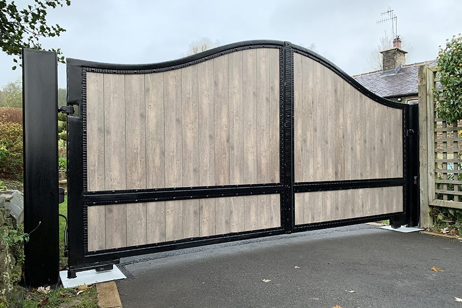 wooden electric gate